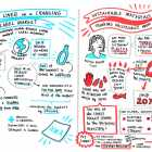 An illustrator made visual notes during the presentations, providing real-time graphic reinforcement of the speakers' messages