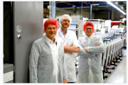 Onsite at Desmedt's plant in Belgium are Bernd Schopferer of Martin Automatic (left) with Timo Donati of Mark Andy (right) and Henri Köhler of Desmedt