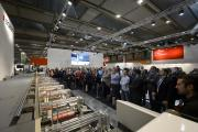 A press demo on the Bobst stand at Labelexpo Europe 2015
