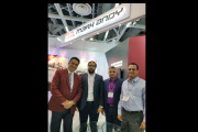Gourav Roy of FIG with Uday and Prasanna Sahu of Barcom Industries at Labelexpo India 2018
