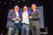 RotoMetrics won the Award for Innovation at the 2018 Label Industry Global Awards. L-R: Butch Schomber and Keith Laakko of RotoMetrics, and Guillaume Clement of Flint Group