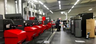 View of the printing stations of the Codimag Aniflo Viva press at Imprimerie Billet