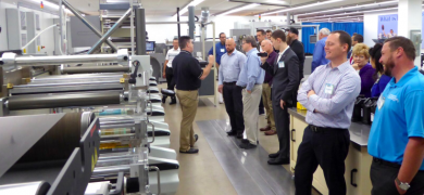 Visitors to the Narrow Web Flexible Packaging Summit saw a demonstration of a Bobst M5 press