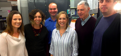 L-R: Yael Warman, content development manager at HP Indigo; Shirly Levy, SLR Print's quality control and special projects manager; Tim Gordon, L&L publishing director; Monique Cohen, market development manager, Labels & Packaging, HP Indigo; Haim Levy, founder of SLR Print; Avi Levy, general manager at SLR Print