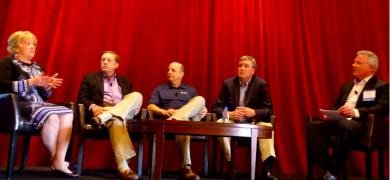TLMI members participated in a converter panel. From left Lori Campbell, Greg Jackson, John Attayek, John Wynne, Charlie MacLean