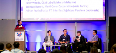 James Quirk, Labels & Labeling, Piyapong Wongvorakul, Trisan Printing, Thailand, Peter Woods, QLM Label Makers, Malaysia, Brenton Barrett, Multi-Color Corporation, Asia-Pacific, Adrian Pratiwiharja, PT Interflex Sejahtera Perdana, Indonesia