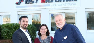 Pictured (from left): Maxteq founders Andrew Maxwell and Olga Maxwell, and Sajid Malik, vice president of sales in the Asia-Pacific region at BST eltromat