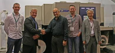 Pictured (from left): Nick Escreet, Hine Labels; Bui Burke, Screen Europe; Bill Hine, Hine Labels; Ryan Grayson, Hine Labels; Takanori Kakita, Screen Europe
