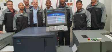 Sign & Seal Labels owner Henk Crous (left) and Konica Minolta South Africa's Leon Minnie and Dane Becker (third and fourth from left), alongside Sign & Seal Labels staff members Ryan Knowlden, Enver Pillay, Perry Como, Alvego Matthyse and Clint Scheepers