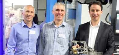 A year ago, Coetzee (center) was the motivating force behind a technical seminar that culminated in a demonstration of a Soma Optima press at Cibapac in Cape Town