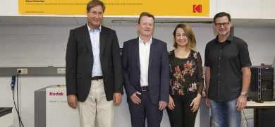 Pictured (from left): Professor Volker Jansen, Stuttgart Media University; Roland Hamacher, Kodak; Nilgun Turan, Kodak; Professor Martin Dreher, DFTA