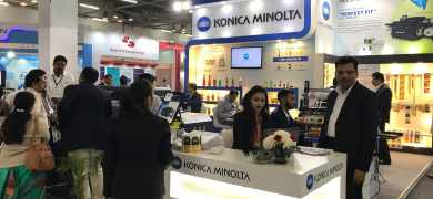 The Konica Minolta stand at Labelexpo India 2018