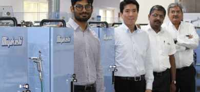 Hemant Paruchuri, director, Pragati Pack with Miyakoshi and Provin Technos team at its factory in Hyderabad