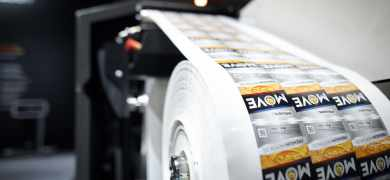 The Mouvent LB702-UV label press producing results at up to 100 m/min.