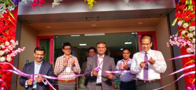 Pankaj Bhardwaj (L) and Anil Sharma (R) inaugurating the new slitting centre in Kolkata