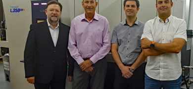 L-R: Santiago Pérez, Rotocon; Bartomeu Bayo, Satergraf; Jordi Bayo, Satergraf; Salva Bayo, Satergraf
