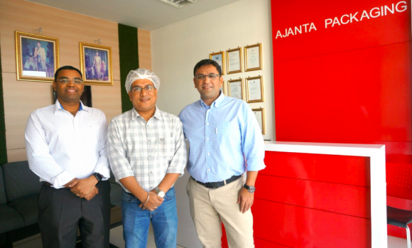 Ajanta Packaging's managing director Chandan Khanna with his core team at the Thai unit
