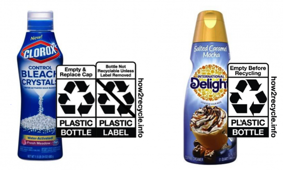 One comparison shared in the TLMI webinar evaluated two distinct How2Recycle labels provided to two different brands (Clorox vs International Delight) using full-body sleeve labels