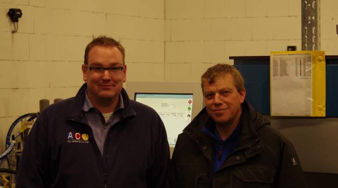 Markus Wielens (left), managing director at ACW-Film with Christian Müller (right), technical staff member at ACW-Film