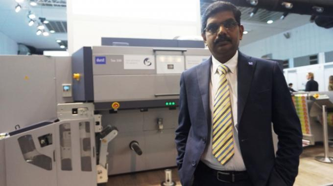 S Venkatesh of Printronics at Labelexpo Europe 2017