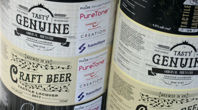 Creation has worked with Pulse Roll Label Products to showcase an inventive new food packaging-compliant UV flexo rough texture varnish aimed at the craft beer label market and other specialized print applications