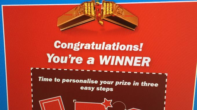 The campaign was realized online, with consumers entering a unique code from a KitKat pack to find out if they are a winner