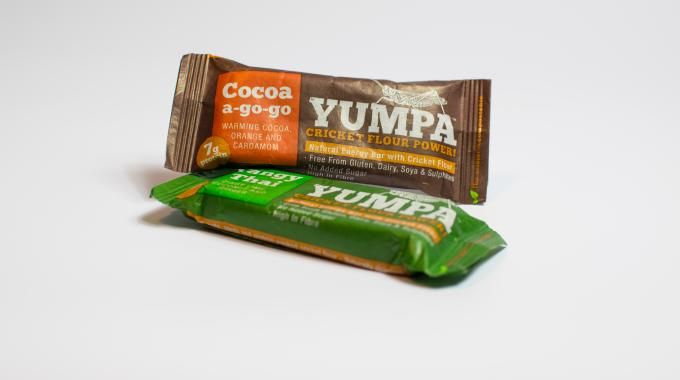 Each Yumpa bar contains 32 powdered crickets, plus nuts, seeds and dried fruit, and is free from gluten, diary, soya and sulphites, and has no added sugar or additives