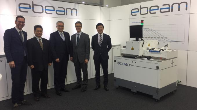 Pictured (from left): Kaspar Zimmerli, ebeam Technologies director of sales in the EMEA region and Japan; Kamihara Shinichi, ebeam Technologies business development manager, Japan; Charles Flükiger, ebeam Technologies president; Detlef Steck, Yxlon president; Mineto Nakajo, general manager of Yxlon Japanq