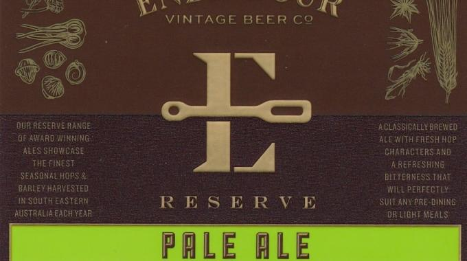 Hally Labels, Australia (FPLMA) with 'Endeavour Reserve Pale Ale'
