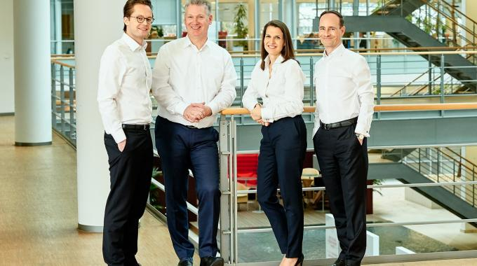 Pictured (from left): Henkel Ventures' core team Dr Robert Günther, Dr Paolo Bavaj, Esther Kumpan-Bahrami and Thomas Schuffenhauer