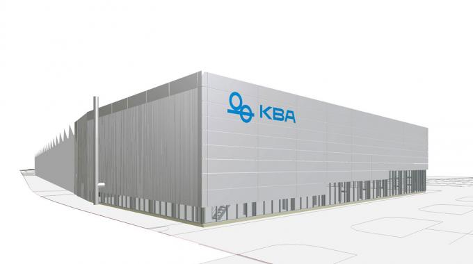 Architect's sketch of the new demo center for digital and flexographic presses at KBA's headquarters in Würzburg
