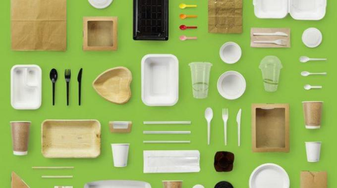The display presents a selection of recent initiatives designed by brands to help reduce packaging's burden on the environment