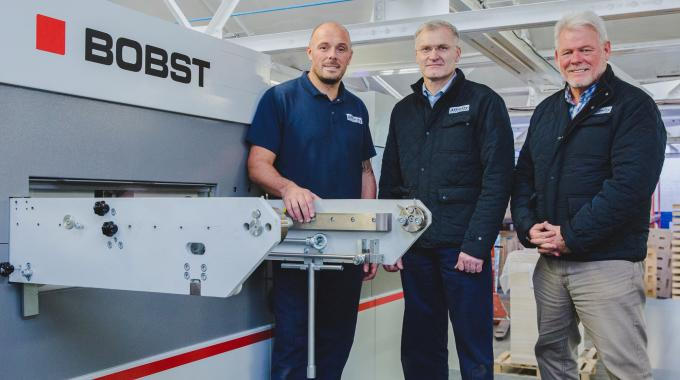 Pictured (from left): Lee Blackwell, machine operator; Anthony Mould, operations director; Chris Dew, managing director, all of Affinity Packaging