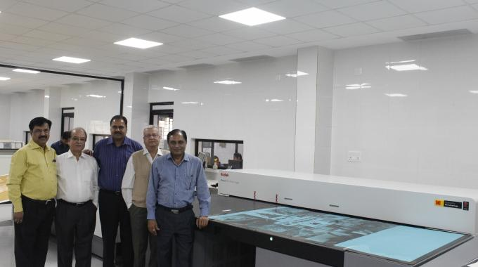 The leadership team of Shilp Gravures with their newly installed Kodak Flexcel NX Wide 50x80 Imager