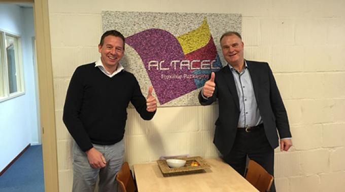 Edwin Spijkers, sales area manager, Apex International, and Rene Bouwman, director of operations, Volkers, at Altacel Printers in the Netherlands