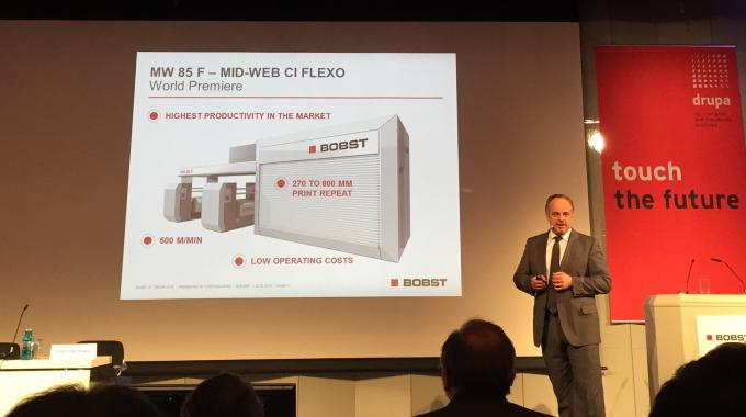 Bobst's MW 85 F mid web CI flexo press, which was first spoken about at the time of Labelexpo Europe 2015