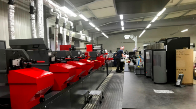 View of the printing stations of the Codimag Aniflo Viva press at Imprimerie Billet