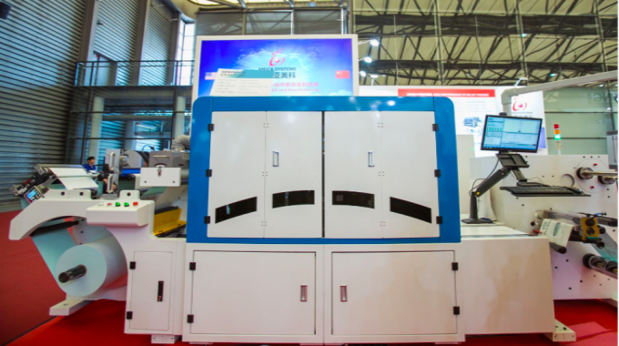 Amica Systems exhibited its latest-generation full color UV label press, Gemini 330