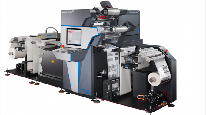 DM Liner UV Ink, a foil transfer unit for digital metallization, transfers metallizations to paper and plastic substrates using the inkjet process