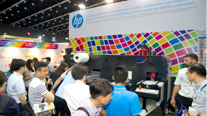AB Graphic had equipment on HP Indigo's stand