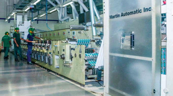 One of the eight Gidue presses with Martin Automatic installed at Flexiprint Sri Lanka