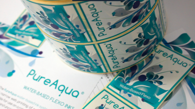 PureAqua is a water-based flexo ink system designed for narrow web printing of self-adhesive labels