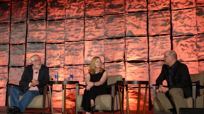 A panel discusses environmental issues at the TLMI annual meeting
