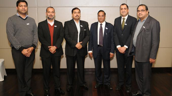 L to R: Mukesh Goyal, director, Gopsons Paper; Luv Shriram, managing director, Shriram Veritech; Arun Aggarwal, chief executive officer, Kantas Track-Pack; Umendra Kumar Gupta, chairman and managing director of Holostik India; Nakul Pasricha, Chief Operating Officer of PharmaSecure and Deepak Gupta, director, Shree Lamipack