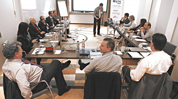 The June 25 meeting featured representatives from across the European flexo industry - Picture courtesy of Jan Vroegop (EFTA-Benelux)