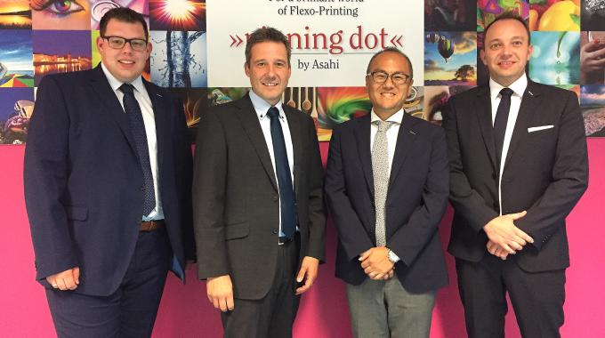 Pictured (from left): Dennis Hubbeling, Stephan Doppelhammer, Asahi Photoproducts managing director Aki Kato and André Jochheim