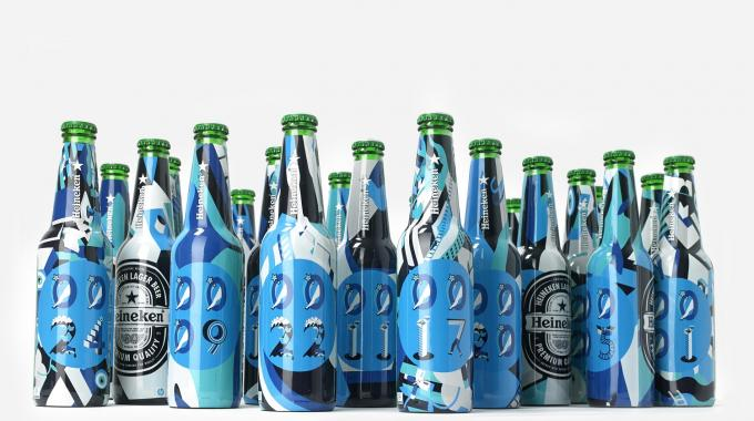 Forgot's specially commissioned artwork for the Heineken bottles features 10 numerals as well as icons and seed patterns, with a design aesthetic inspired by the Yellow Submarine animated film