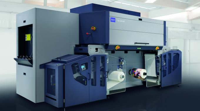 Tau 330 RSC is a UV inkjet label and package printing press featuring a 330mm print width combined with a print speed of up to 78 linear m/min