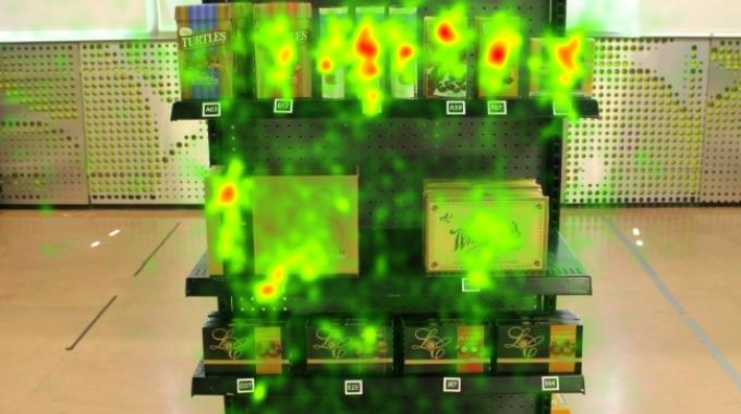 eye-tracking glasses recorded eye movements while selecting products from a shelf