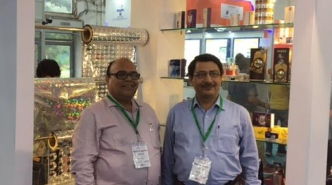 G P Pathak, vice president of operations at Uflex (left) by the holography products manufactured by the business